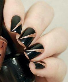 Most Popular Black and Glitter Nail Art Designs