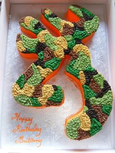 Browning/Camo Cake... Perfect design! After all my 22 BUCKMARK is a browning!!' Hunting Birthday, Camo Birthday, My Birthday Cake, Hunting Party, 19th Birthday, Birthday Ideas, Camouflage Cake, Crazy Cakes, Cute Cakes
