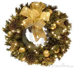 Gold mesh ribbon, 3 gold glitter wire star ornaments, 9 assorted gold ball ornaments, and pine cones  could be used if highlighted in gold glitter paint.