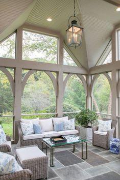 Screened Porch Designs, Screened In Patio, Screened Porch Doors, Backyard Pergola, Front Porches, Porch Flooring, Slate Flooring, Vintage Porch, Sleeping Porch