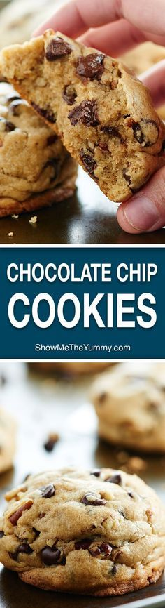 If you love fluffy, soft, dense, gooey cookies, then this Fluffy Chocolate Chip Cookies Recipe with toasted pecans and two kinds of chocolate is for you! showmtheyummy.com #chocolatechipcookies #cookies