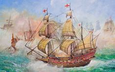 HMS Revenge in combat against the Spaniards Drake, Spanish War, Ship Paintings, Modern Paintings, Continental Army, Hms Victory, Templer, Wood Burning Patterns, Pirate Theme