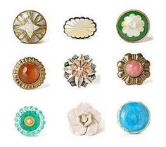 Vintage hardware: Keep your eyes open for delicate porcelain or glass door knobs, brass door knockers and unique cabinet knobs and pulls which can give a brand new look to your doors, cabinets or kitchen cupboards.
