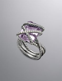DY CABLE WRAP RING, LAVENDER AMETHYST, 16X12MM