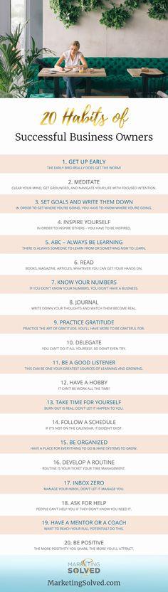 20 Habits of Successful Business Owners // Business // Marketing // Entrepreneur // Entrepreneur Tips // Entrepreneur Lifestyle // Female Entrepreneur // Women in Business
