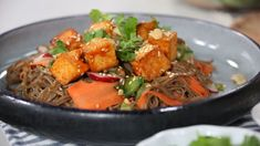 Soba with sweet chili sesame tofu and quick pickled veg that makes for a healthy weeknight dinner. No Dairy Recipes, Delicious Vegan Recipes, Pasta Recipes, Cooking Recipes, Healthy Recipes, Vegetarian Recipes, Sesame Tofu, Healthy Weeknight Dinners, Vegetarian Appetizers