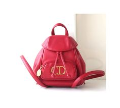 Christian Dior Red small leather backpack authentic vintage handbag by hfvin on Etsy  #christiandior #red #backpack #rare #authentic #handbag #backpack #hfvin