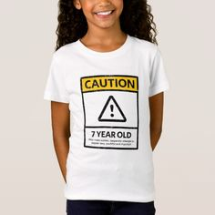 CAUTION 7 Year Old 7th Birthday Gift Kids T Shirt Diy
