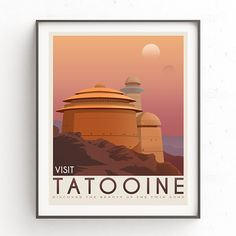 Tatooine poster. Tatooine retro travel. Starwars planet illustration. Sci fi vintage print. Luke skywalker. Landspeeder. Two mons landscape. Return of the jedi. digital version. Starwars printable. Vacation poster.  Inspired Star Wars movie. This design is suitable for office or your home. It is also a good idea for anniversaries, birthday, christmas or any other special occasion.  The download includes for 4 high resolution files (2 JPG and 2 PDF) in 2 different sizes: A2 (40x50cm) and…