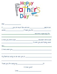 Fathers Day Worksheet - Print & Have Kids Fill Out!