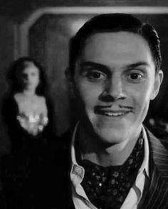 The diabolical James Patrick March and The Countess. AHS Hotel. Evan Peters with Lady Gaga on the background.