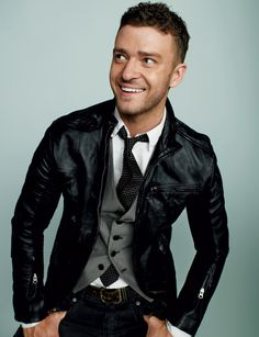 Justin Timberlake - vest and tie with leather jacket