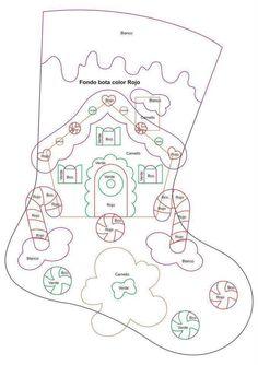 29 Enfeites de Natal em Feltro com Moldes Felt Christmas Stockings, Felt Stocking, Felt Christmas Decorations, Felt Christmas Ornaments, Christmas Gingerbread, Noel Christmas, Christmas Projects, Felt Crafts, Christmas Crafts