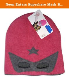 Neon Eaters Superhero Mask Beanie Hat Pink-5/8y-Pink. She's warm, she's cool, she's able to leap from tall buildings, and she can be a superhero now too with this great Hero beanie! Hat has a longer fit so it can be worn over the eyes or turned around for a simple beanie. Cutout eye-mask and super hero star. 100% acrylic.