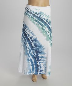 Blue & White Tie-Dye Fold-Over Maxi Skirt - Plus by Poliana Plus #zulily #zulilyfinds