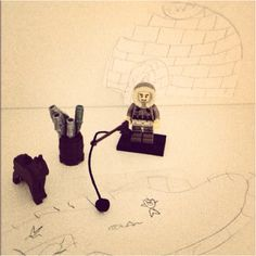 Bought my son a mini Eskimo Lego figure. He created a set for it.