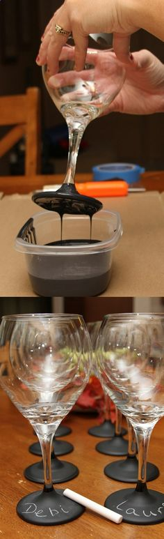 Wine Glasses - What a great idea: Use chalkboard paint on base of glasses for personalization.