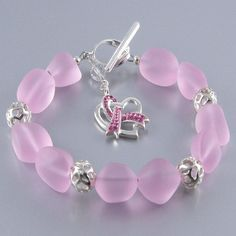Pink Sea Glass Sterling Silver Bead Breast Cancer Awareness Bracelet