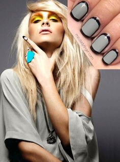"By ladyfinger: ""This technique first caught my eye in the Fashion Canada magazine featuring Andrej Pejic. You can use any two colors you'd like, although I'd recommend black plus a neutral to work to accompany your style in a subtle, chic way. I used ""Chelsea"" by Nails Inc. and ""Dove"" by Zoya."""