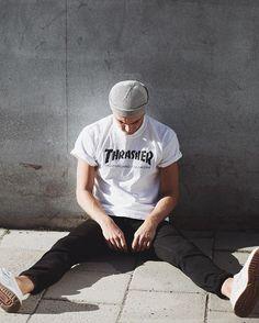 Thrasher tee worn by blogger and model Robin Sebastians.