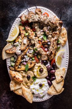 the greek platter Meze Recipes, Greek Recipes, Cooking Recipes, Healthy Recipes, Recipes With Hummus, Greek Chicken Recipes, Barbecue Recipes, Barbecue Sauce, Healthy Nutrition