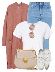 """Messy Bun"" by monmondefou ❤ liked on Polyvore featuring RE/DONE, Chloé, Santoni, Michael Kors and Pink"