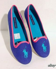 6f8419bf0ee31d New Polo Ralph Lauren - R.L. Girls Jayde Loafers Purple Pink Turquoise US 4