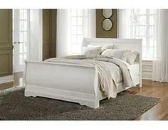 White Signature Design By Ashley - Anarasia Queen Sleigh Rails Sleigh Bedroom Set, Sleigh Beds, Bedroom Sets, Home Bedroom, Master Bedroom, Bedrooms, Bedroom Decor, White Sleigh Bed, White Wooden Bed