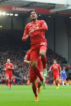 Emre Can of Liverpool celebrates his goal to make it 1-0 during the Barclays Premier League match between Liverpool and Chelsea at Anfield on November 8, 2014 in Liverpool, England. (Photo by John Powell/Liverpool FC via Getty Images)