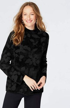 alternate image 1 of Jacquard-Leaves Chenille Pullover Tunic Sweater, Pullover Sweaters, Sweater Fashion, Cardigans For Women, Black Sweaters, Perfect Fit, Ruffle Blouse, Leaves, Clothes For Women