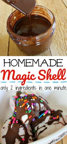 Homemade magic shell recipe using only two ingredients you can make in one minute. Add chocolate shell to your ice cream in just 1 minute. cream desserts Homemade Magic Shell Recipe Using Only Two Ingredients Ice Cream Toppings, Ice Cream Desserts, Frozen Desserts, Ice Cream Recipes, Frozen Treats, Homemade Desserts, Easy Desserts, Delicious Desserts, Dessert Recipes