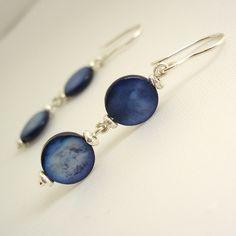 Beautiful Shell Blue Dropper Earrings at Maram Jewellery