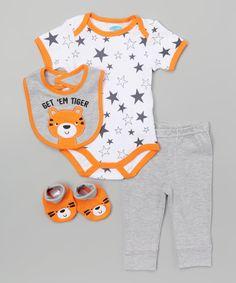 Look what I found on #zulily! bon bébé Gray & Orange Star Tiger Layette Set by bon bébé #zulilyfinds