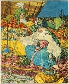 Storytelling at its best: Shahrzad and Shahriyar (from E. Granger, Contes de l'ombre et de la lumière)