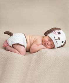 Another great find on #zulily! White & Chocolate Puppy Crochet Beanie & Diaper Cover by Melondipity #zulilyfinds