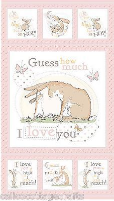 Guess How Much I love You Quilting Patchwork Sewing Fabric Panel 60cm x 110cm
