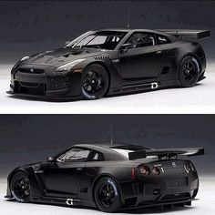Mean looking Nissan GTR. When regular tires aren't enough, fill them with nitrogen and you get this incredibly fast car that performs well in the turns.