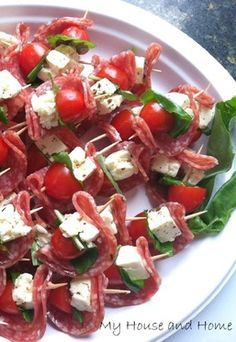 Salami, feta, basil, and tomato appetizers… an easy finger food for your fall parties!
