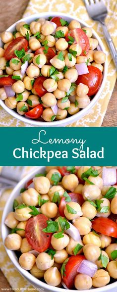 Lemony Chickpea Salad recipe ... a quick, easy vegan side dish that's a wonderful addition to any meal! This simple chickpea salad is bursting with fresh, healthy flavors! Perfect for all your summer BBQs and picnics, and makes a great light meal, too! |