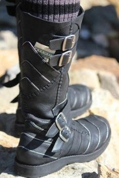Moto Boots — Ayyawear (Black Leather, Silver Lining)