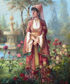 A noble lady during the Ottoman rule in her garden. Depicts era between to early Artist: Kamil Aslanger Turkish Art, Painting Collage, Classic Paintings, Arabian Nights, Ottoman Empire, Art Plastique, Portrait Art, Islamic Art, Great Artists