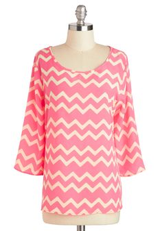 On the Same Wavelength Top - Mid-length, Pink, White, Stripes, Chevron, Work, Long Sleeve