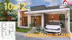 House design Plans with 3 Bedrooms terrace roof - House Plans Simple House Plans, Simple House Design, Minimalist House Design, New House Plans, Flat Roof House, House Construction Plan, Three Bedroom House Plan, Modern Bungalow House, Home Design Plans