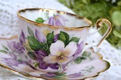 Vintage Windsor, Purple Lavender Azalae Tea Cup and Saucer, Bone China, England