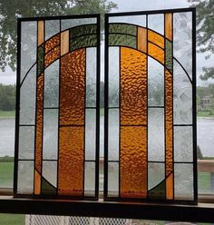 2 Arts and crafts mission prairie style stained glass panels window hanging stained glass window panel 0480 18 x 9 Hanging Stained Glass, Stained Glass Panels, Stained Glass Designs, Stained Glass Patterns, Window Hanging, Window Panels, Window Sill, Mosaic Glass, Glass Art
