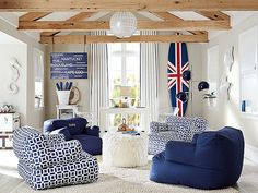 I'd love this kind of airy space to work with for the kids to hang out in… @Pottery Barn Navy Peyton Lounge