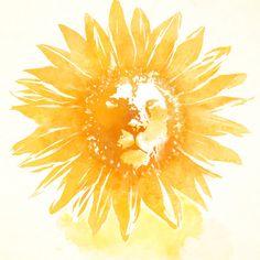 Lion Sunflower Art Print