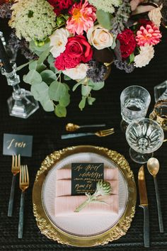 La Tavola Fine Linen Rental: Leather Dots Black over Topaz Slate with Dupionique Iridescence Blush Napkins | Photography: Fondly Forever, Florals: Lilla Bello, Planning & Design: Golden Poppy Events, Venue: The Velvet Lounge at The Culver Hotel, Tabletop Rentals: Dish Wish