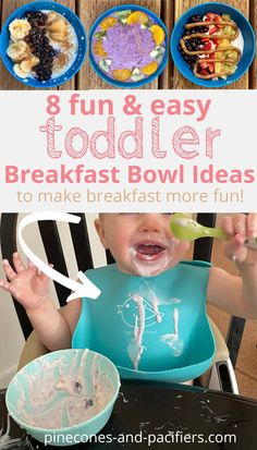 Try this fun toddler breakfast idea! A list of 8 healthy and hearty toddler breakfast bowl ideas; yogurt bowls, smoothie bowls, and oatmeal bowls made with simple ingredients and fun toppings. What my 1-2 year old toddlers eat for breakfast.