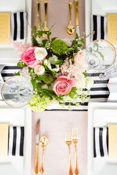 Pink. gold. black. white. stripes. Photography by robynvandykephotography.com/index2.php Event Design by asouthernsoiree.com  Read more - http://www.stylemepretty.com/2013/07/23/north-carolina-wedding-inspiration-from-robyn-van-dyke-a-southern-soiree/